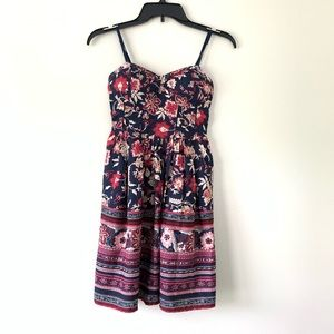 Band Of Gypsies Navy & Red Floral Mini Dress